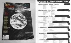 -『Whole Earth Ctalogue』の表紙と目次。1968年の臭いがプンプン